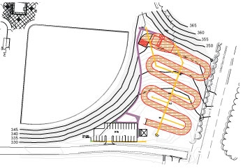 BMX track layout and elevations
