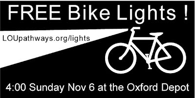 Free Bike Lights.  4 pm Sunday Nov 6 2011 at the Oxford Depot